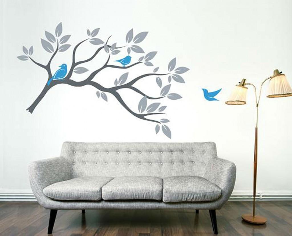 kuş desenli duvar resimleri