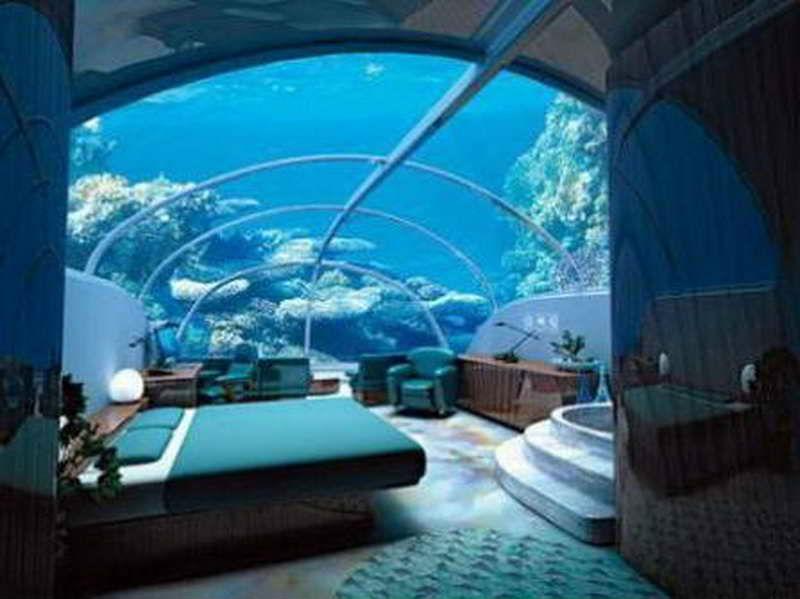 su içinde yatak odası tasarımı