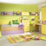 yeşil renkli çocuk odası tasarımı