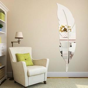 Üç boyutlu yatak duvar kuş tüyü ayna modelleri sticker