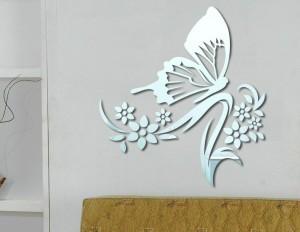üç boyutlu moda kelebek çiçek duvar modelleri ayna sticker