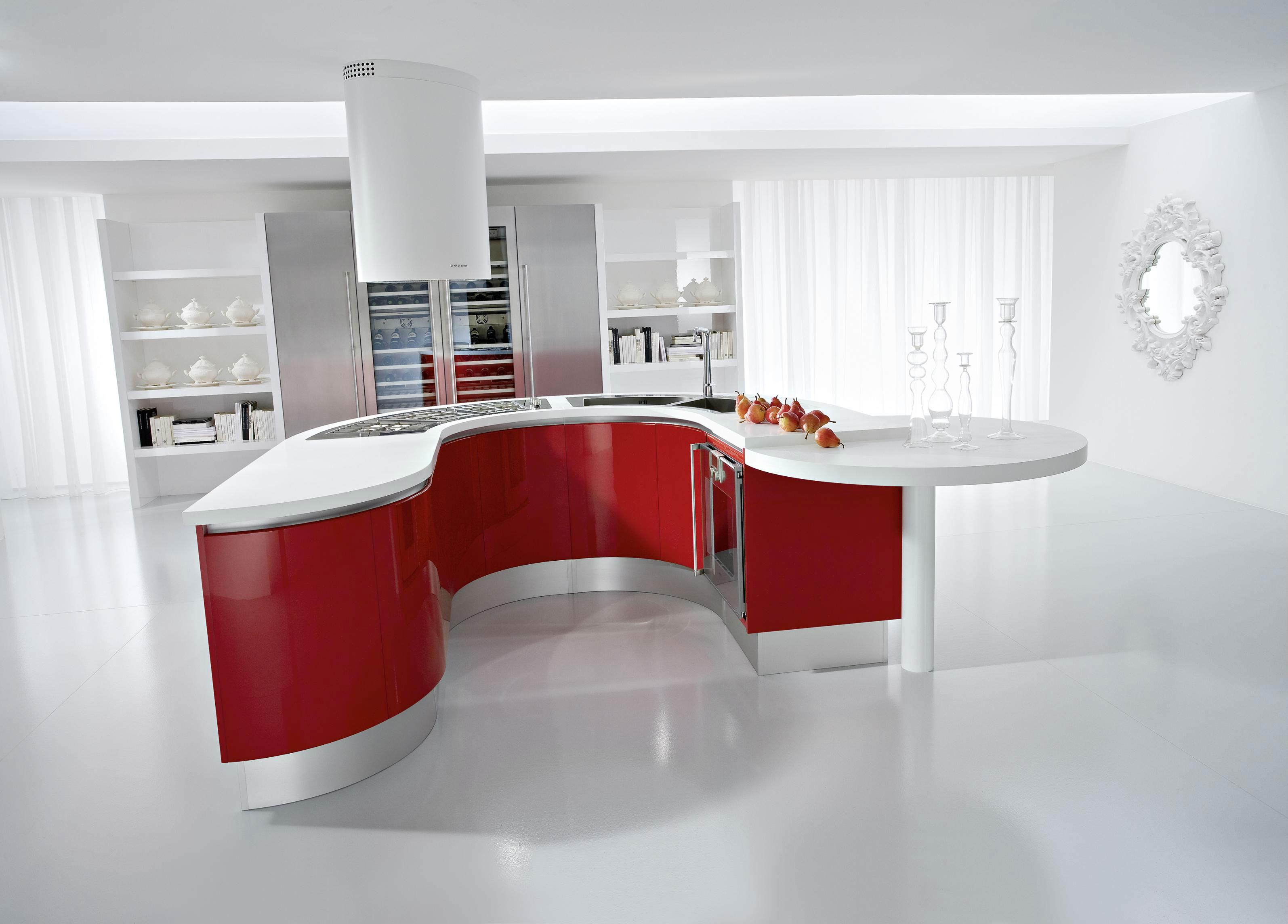 Kırmızı beyaz amerikan mutfak