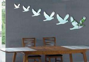 Kuş ayna modelleri duvar sticker dekorasyonu