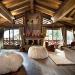 chalet tarzı salon dekorasyonu dağ evi