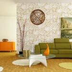 duvar kağıdı turuncu yeşil retro dekorasyon