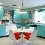 mavi renkli mutfak dekorasyonu