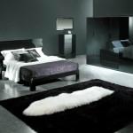 modern siyah beyaz yatak odası halı modelleri