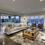 oturma odası açık gri kahve renk halı modeli