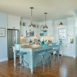sade ve şık mavi mutfak dekorasyonu