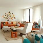 turuncu mavi beyaz retro sitil ev dekorasyonu