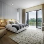 yatak odası krem renk halı modeli