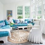 mavi beyaz renklerde yazlık ev dekorasyonu