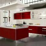 Kırmızı beyaz amerikan tarz mutfaklar