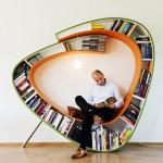 kitap kurtları için şık tasarım kitap okuma köşesi