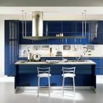 koyu mavi lüks mutfak dekorasyonu