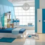 mavi beyaz çocuk odası dolap modeli