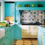 mavi renkli mutfak dekorasyonu 3