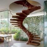 modern ahşap döner merdiven tasarımları