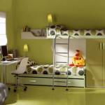 yosun yeşili çocuk odası dolap modeli