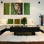 yeşil beyaz salon dekorasyonu